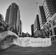 """The Super Mario piece from Ben Heine's """"Imagination Vs Reality"""" Set.  This artist has MAD skills in perspective and photography. check out his website at www.benheine.com"""