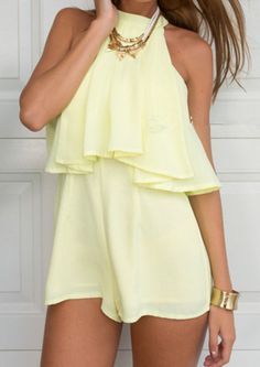 SheIn offers Yellow Halter Ruffle Loose Jumpsuit & more to fit your fashionable needs. Passion For Fashion, Love Fashion, Womens Fashion, Spring Summer Fashion, Spring Outfits, Cool Outfits, Casual Outfits, Mellow Yellow, Pastel Yellow