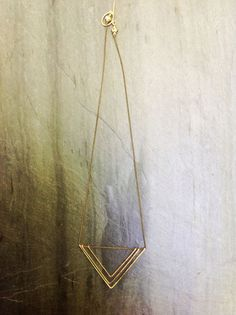 Gold Deco Geometric Triangle Necklace -by Loop Jewelry -Hammered Gold-Geometric Gold Necklace-Triangle necklace-Gold Triangle