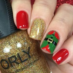"""Sensationails4u on Instagram: """"Elf Nails I'll post the video for these nails later. Thank you loves for all your sweet words and all your support on my posts. Thank you so much I used @orlynails Bling @opi_products Big apple red from @hbbeautybar @sinfulcolorsprofessional Exotic green @glistenandglow1 Hk Girl Top ✨coat Details Hand painted with  acrylic paint"""""""