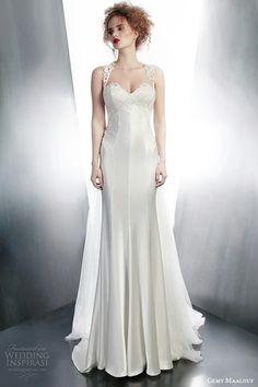 Sleeveless Satin & Lace Column/Sheath Wedding Gown by Gemy Maalouf Fall/Winter 2015×××××××