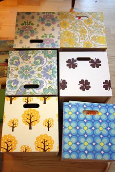 Wood boxes with wallpaper