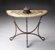 """Butler Specialty Company Metalworks Bronze Demilune Console Table by Butler Specialty Company. $462.18. 38""""""""W x 32""""""""H x 15""""""""D. Finish: Bronze. This demilune console has a bronze finished metal base with an acid-etched pastor stone top."""