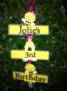 Hey, I found this really awesome Etsy listing at https://www.etsy.com/listing/161886936/bumble-bee-party-sign