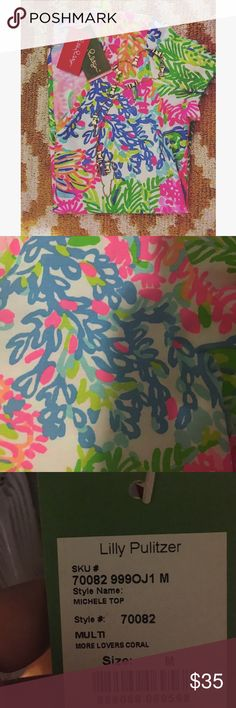 Adorable Lily Pultizer Top! NWT! More Lovers Coral short sleeve top! Brand new with tags! Size medium Lilly Pulitzer Tops Tees - Short Sleeve