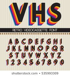 Find Retro Font Vector Vhs Alphabet stock images in HD and millions of other royalty-free stock photos, illustrations and vectors in the Shutterstock collection. Thousands of new, high-quality pictures added every day. Letras Cool, Aesthetic Fonts, 90s Design, Retro Graphic Design, Funky Design, Vintage Graphic, Retro Vintage, Typographie Inspiration, Retro Font