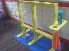 "Window easel... kids can use shaving cream, dry erase, paint, and a bunch of other media to paint and write on the ""windows,"" then practice cleaning the windows!"
