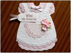 Baby Girl Cards, New Baby Cards, Simple Hand Embroidery Patterns, Baby Dress Tutorials, Baby Blessing, Baby Invitations, Shaped Cards, Baby Album, Baby Christening
