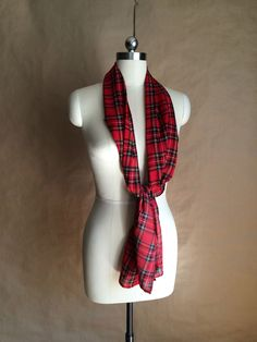 preppy 1990's sheer tartan plaid neck scarf head wrap by yellowjacketvintage on Etsy