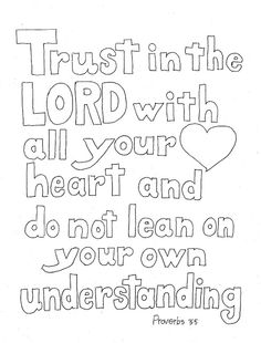 Coloring Pages for Kids by Mr. Adron: Trust In The Lord Scripture Print and Color Page