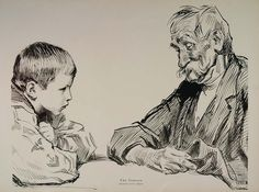 """""""The Veteran."""" This is an original 1914 halftone print of a pen and ink drawing by Charles Dana Gibson. A young boy listens intently to the war stories of an old veteran --perhaps his own grandfather."""