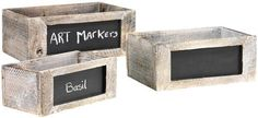 wood Boxes with Chalkboards