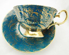 ELIZABETHAN ENGLAND GOLD CHINTZ TEAL TURQUOISE TEA CUP AND SAUCER in Other | eBay