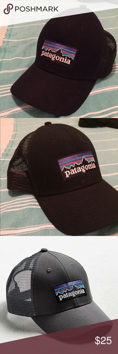 Patagonia Lo Pro snapback Trucker Hat. Sporty SnapBack with Patagonia logo. Barely worn, super new. Great Condition. P-6 trucker hat from Patagonia. 6-panel design crafted from organic cotton canvas trimmed with cooling mesh at the snap back. Patagonia Accessories Hats