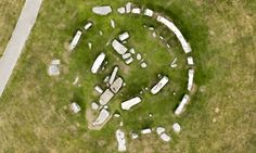 : : ancient : : An orthophoto of Stonehenge taken from the air shows the brown patches of grass where stones may once have completed the circle.