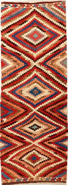 East-Anatolian kilim, 19th century, 154 x 400 cm. Despite its similarities with kilims from Western Anatolia and the Konya region, the  weaving structure and the colours of this piece link it with Eastern Anatolia. 100 Kilims, Neiriz Collection on view at Halle, Germany
