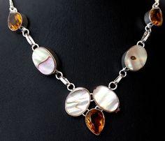 Designer Abalone Shell-Honey Quartz For Gift 925 Silver Overlay Necklace A305 #Handmade #Bib