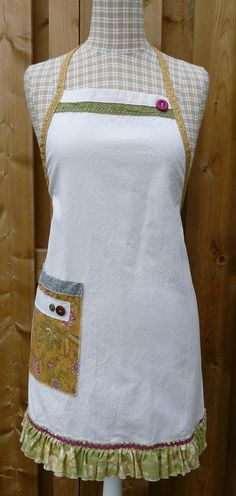 Apron  Full Apron  Canvas Apron  Ruffled Apron by GabryRoad, $28.00