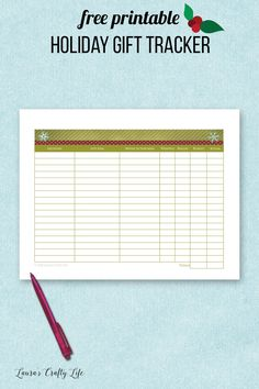 Holiday Gift Tracker. Stay organized this holiday season by keeping track of all of your gift giving with this free printable gift list tracker. #laurascraftylife #organizeyourholiday #freeprintable #gifttracker