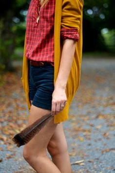 love this red plaid + yellow cardi look for ISU game days (would wear with dark pants or jeans though)
