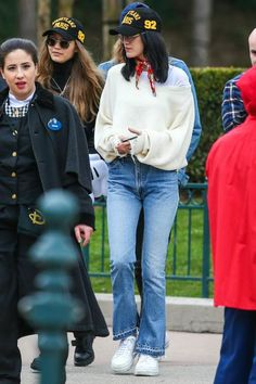 Bella Hadid wearing Re/Done Elsa Flare Jeans and Carrera 6663 Glasses
