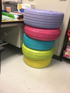 Learn how to create colorful tires for your classroom! I lay out how to do it step by step and it's now one of the most popular things to sit on in my classroom for flexible seating!
