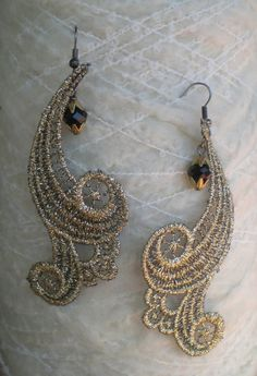 Gold Lace Earrings — stylized gold lace blooms sway gently from antiqued brass hook, accented with a petite black crystal bead — $25.00 USD