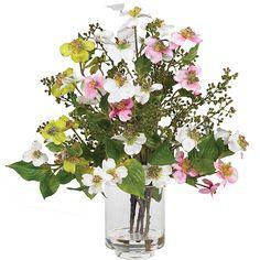 Nearly Natural Silk Dogwood Flower Arrangement, Green (Glass)
