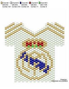 Patrones Esquemas Mostacillas Peyote Stitch Patterns, Bracelet Patterns, Beading Patterns, Real Madrid, Virginia, Cross Stitch Heart, Peyote Beading, Seed Bead Earrings, Seed Beads