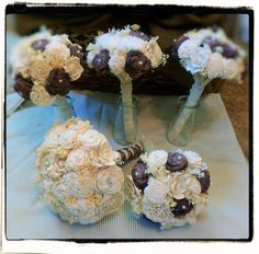 These are so amazing!  Custom Handmade Wedding Bouquet Set by CuriousFloralCrafts on Etsy, $305.00
