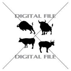Four Bull Silhouettes Vector Images Vinyl by GuysAfterConception