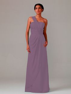 One-shoulder Chiffon Dress | Plus and Petite sizes available! Hundreds of styles, tons of colors!