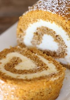 Pumpkin Roll With Maple Cream Cheese Filling!