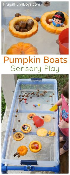 Pumpkin Boats Fall Sensory Play Idea - Preschoolers will love this!