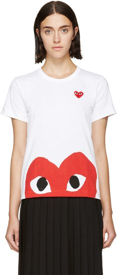5319d86d86 Comme des Garçons Play - White Half Heart T-Shirt Play Clothing, Rei  Kawakubo