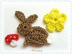 Cute bunny, schroom and flower.