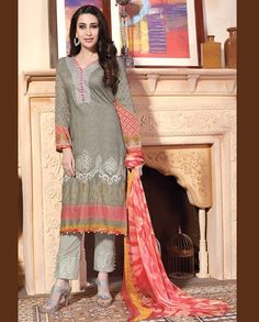 Grey pant style suit with printed sleeves   1. Grey lawn cotton suit2. Comes with matching bottom and dupatta3. Can be stitched upto bust size 42 inches