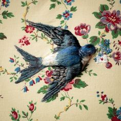 Handmade sculptured birds, detailed with fine embroidery - Sarah Perry. Etsy Shop