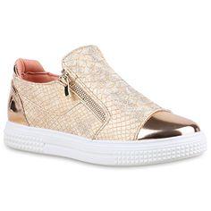 Damen Sneakers Zipper   Metallic Cap Schuhe   Sneaker Low Kroko Print   Sportschuhe Trainers Flach   Turnschuhe Flats Slip-Ons   Flandell®: Amazon.de: Schuhe & Handtaschen