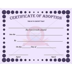 Charming A Certificate Of Adoption Is An Official Document To Be Signed By The Judge  When An Adoption Is Finalized. This Certificate Will Be Required In Order  For A