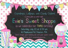 Printable Sweet Shoppe Candyland Birthday by ChalkingItUpBoards, $15.00