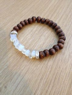 Wooden beaded bracelet with rhinestone spacers and por MadeByLeave
