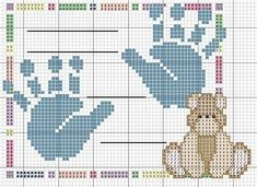 Cross-stitch Baby Announcement Pattern, part no color chart, just use pattern chart colors as your guide. or choose your own colors. _ponto_cruz: Board of birth Baby Cross Stitch Patterns, Cross Stitch For Kids, Just Cross Stitch, Beaded Cross Stitch, Cross Stitch Baby, Cross Stitch Charts, Cross Stitch Embroidery, Baby Embroidery, Embroidery Patterns