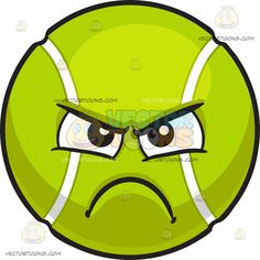 An Angry Tennis Ball :  A bouncy ball made out of fluorescent yellow green felt with two white curvilinear ribs black brows furrowed as his lips frown in anger and disappointment  The post An Angry Tennis Ball appeared first on VectorToons.com.