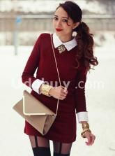 Virgit Canaz In Wine Red Laple Lon... #sheinside
