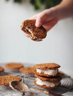 Gingersnap Eggnog Ice Cream Cookies