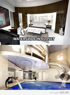 Waterslide in closet - this would be AWESOME!!!!!!!!!!!!