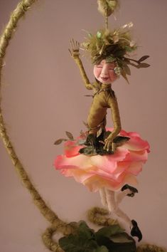 Evie Mae, a flower doll with a wire form base by Cyndi Mahlstadt