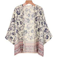 Apricot Long Sleeve Tribal Print Kimono