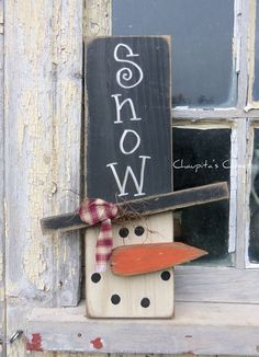 PRIMITIVE Snowman Wood Sign Door Rustic Christmas Country Home Decor #Handmade